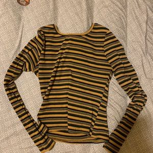 Striped long sleeve tee cropped.